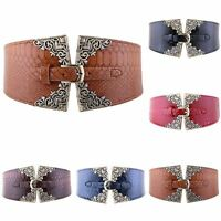Fashion Lady Women Elastic Wide Waist Belt Retro Metal Buckle Leather Waistband