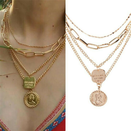 Choker Retro Ancient Portrait Coin Vintage Geometric Necklace Fashion Jewelry
