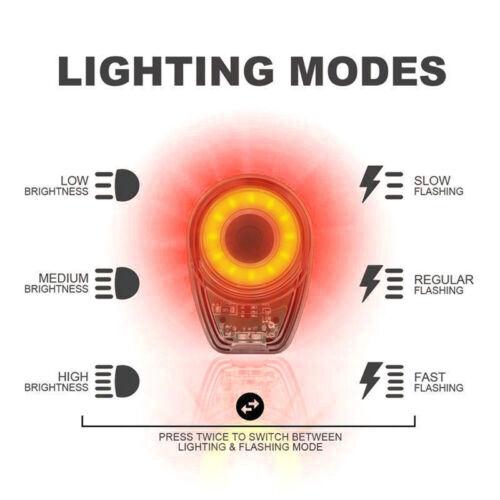 New Smart Bicycle Tail Light USB Charging LED Round Bike Warning UK SELLER