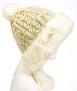 b339e8844e6f8 Aprileo Women s Aviator Hat Faux Fur Trim Pompom Cap Ear Flaps Knit ...