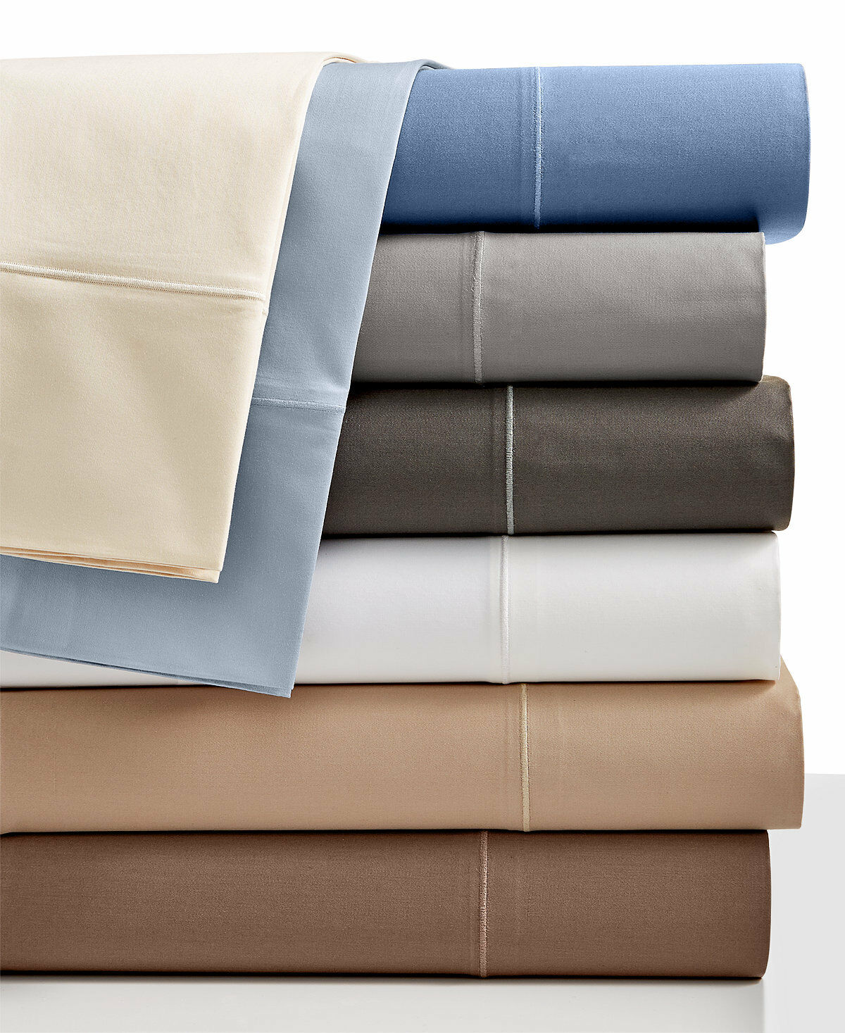 Hotel Collection QUEEN Flat Sheet & Fitted Set Solid 525 TC Cotton Ivory T93262