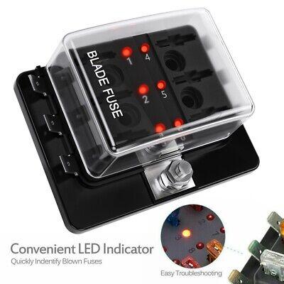6 Way Fuse Box Holder Block LED Illuminated Automotive Mini Blade Car Vehicle US