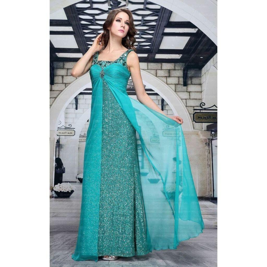 Abendkleid Ballkleid Paillettenkleid Kleid von Festamo in Grün, Gr. 34 36 38 40