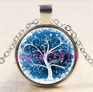 Vintage-Tree-of-Life-Cabochon-Tibetan-silver-Glass-Chain-Pendant-Necklace-2761