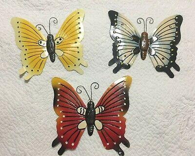Set Of 3 Bright Colorful Butterfly Metal Art Trio Wall Decor