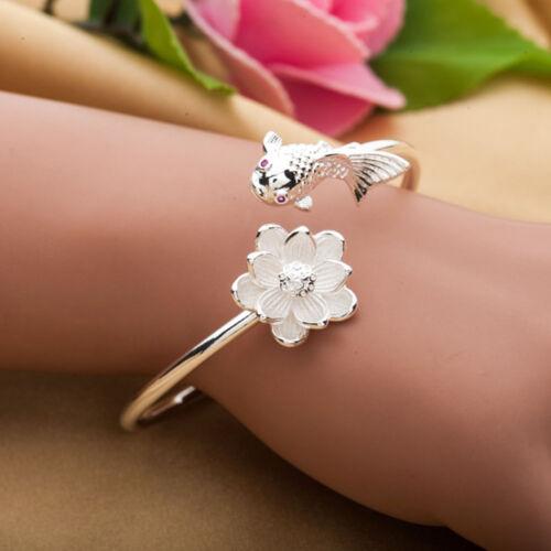Charm fleur bracelet plaqué argent ouverture Cuff Bangle Fashion Jewelry