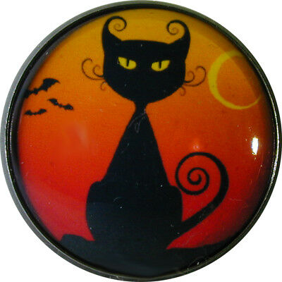 Halloween Crystal Dome Button LgSz Scheming Cat HW 30 FREE US SHIPPING