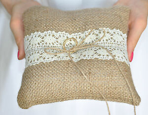 Ring Bearer Pillow Ivory Gold Lace