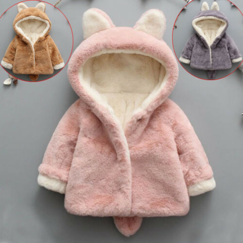 Newborn Baby Infant Kids Girl Winter Hooded Coat Fur Thick Warm Jacket Outerwear