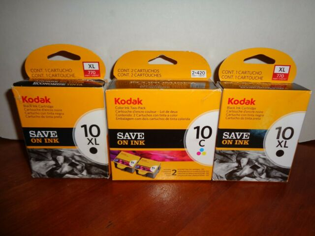 Lot of Genuine Kodak Ink 2-10XL Black (770) & 2-10C Color (2×420) Ink Cartridges