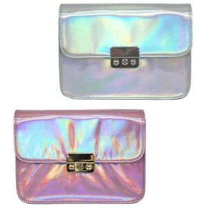 ELLA LADIES ADJUSTABLE STRAP HOLOGRAM EFFECT CROSS BODY BAG 72869/72870