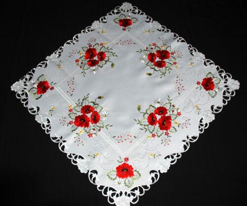 Belle place ovale brodé blanc TABLE coureur nappe DOILY Coquelicot