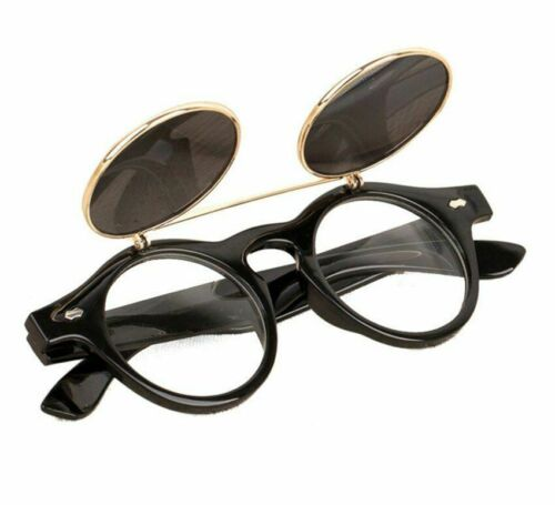 Sunglasses Party Gift Steampunk Goth Goggles Glasses Flip Up Round Sunglasses