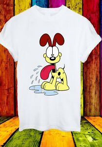 Garfield-Odie-Cane-Beagle-Lyman-Jon-Arbuckle-Cartoon-Uomini-Donne-Unisex-T-shirt-842