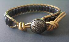 Great Gift Men's Golf Sports Bracelet Gold Leather Black Magnetic Hematite