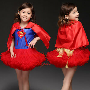 Baby-Girls-Child-Superhero-Supergirl-Costume-Kids-Fancy-Party-Tutu-Dress-Outfit