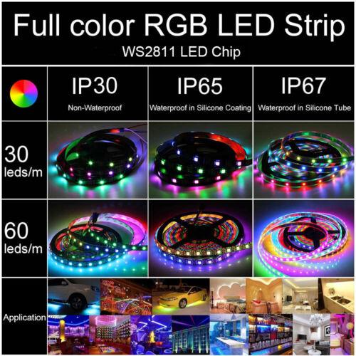 30-60 LED//M WS2811 5050 RGB Full color Addressable Strip IP30 IP65 IP67 12V
