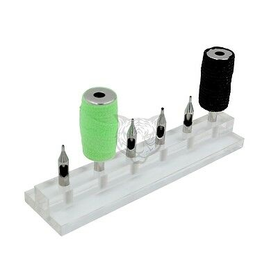 1pc Acrylic Tattoo Grip Tip Stand Holder Display  for Tube Tip 6 Holes