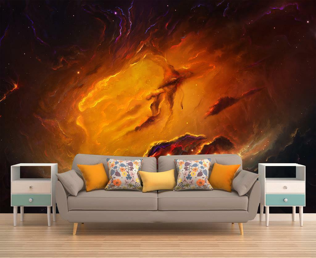 Nebula Interstellar Space Galaxy Wall Paper Woven Self-Adhesive Mural Art M140