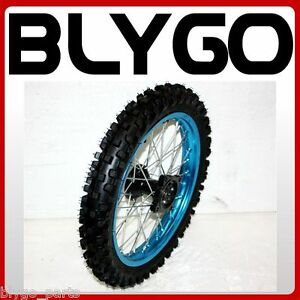 "BLUE 15mm Axle 60//100-14/"" Inch Front Wheel Rim Knobby Tyre PIT PRO Dirt Bike"