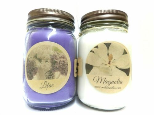 COMBO Lilac Blossoms and Magnolia Set of Two 16oz All Natural Soy Candles