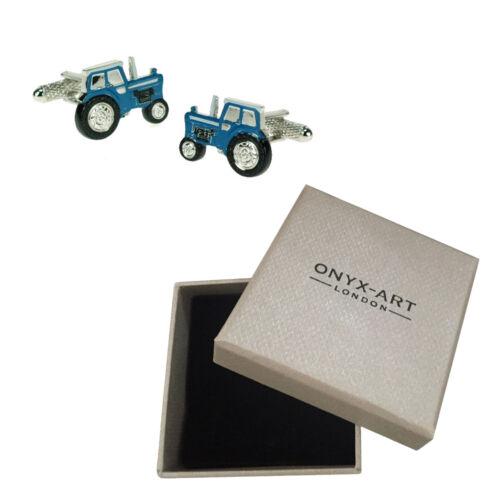 Mens azul Tractor Agricultor Gemelos /& Caja De Regalo-los jóvenes agricultores por Onyx Art