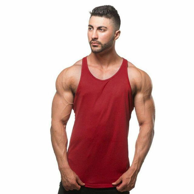 GDJGTA Mens Vest Gyms Bodybuilding Fitness Muscle Sleeveless Singlet T-Shirt Top Vest Tank