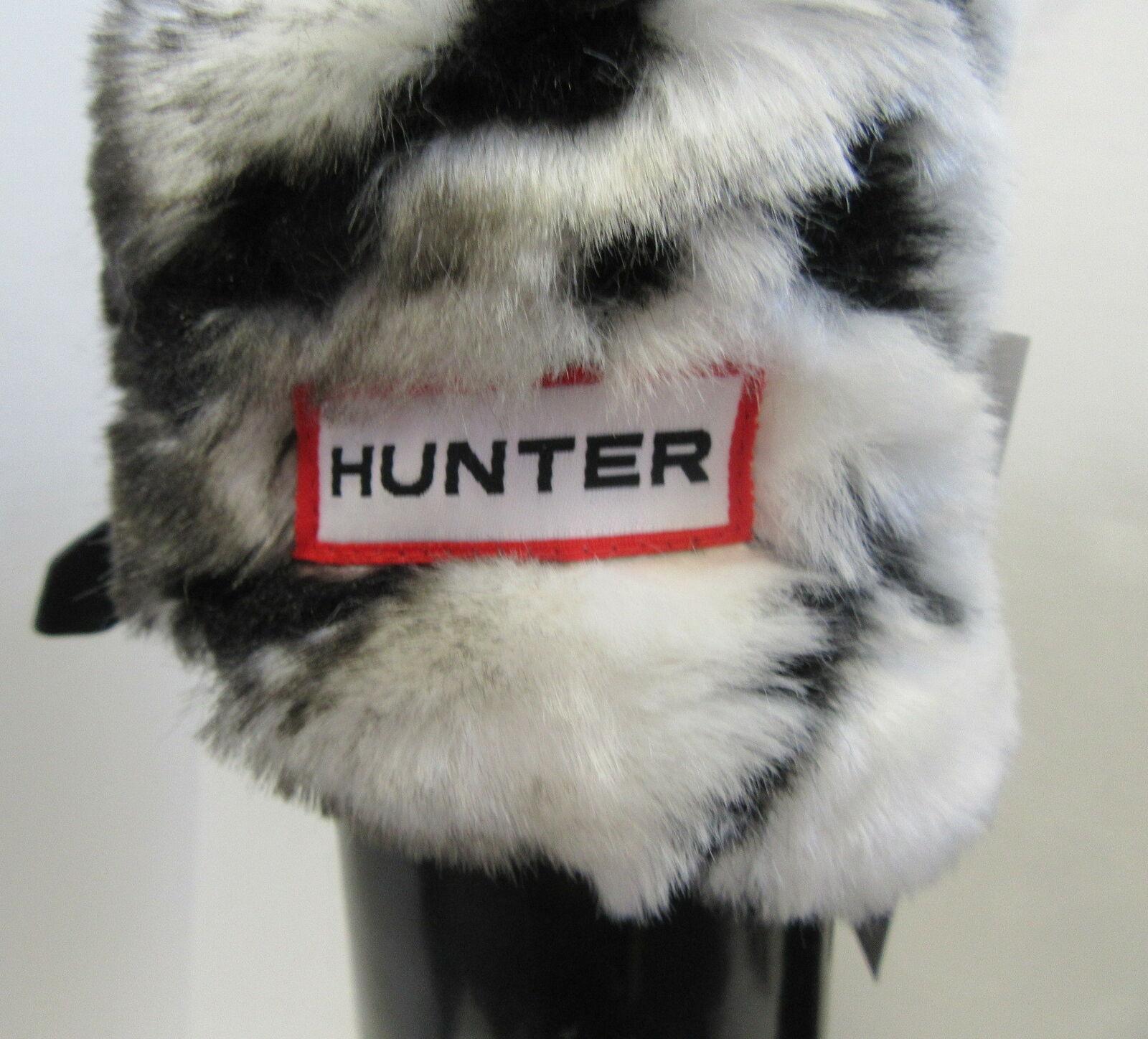 HUNTER Black Tall Rain Boots w/ Fleece Zebra Sock… - image 6