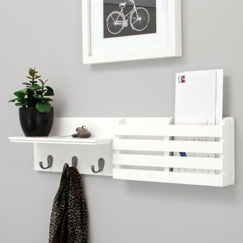 24-Inch by 6-Inch, Kiera Grace Sydney Wall Shelf and Mail Holder with 3 Hooks