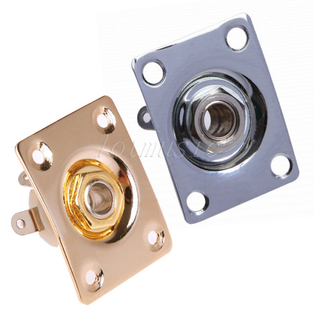 2 pcs square output plate w jack for electric guitar parts gold and chrome for sale online. Black Bedroom Furniture Sets. Home Design Ideas