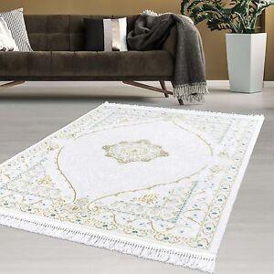 Das Bild Wird Geladen Teppich Designer Orient Flachflor Wohnzimmer  Hochwertig Soft Weiss