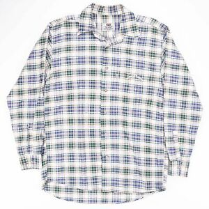 Vintage-LEVI-039-S-White-Tab-Blue-amp-Green-Checked-Flannel-Shirt-Size-Men-039-s-Medium