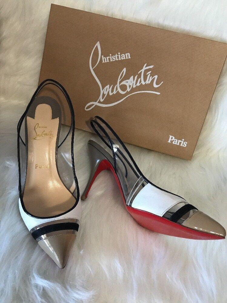 alla moda New Christian Louboutin Louboutin Louboutin Air Chance Slingback Pump nero-bianca-Nude Dimensione 38  ️ ️  il prezzo più basso