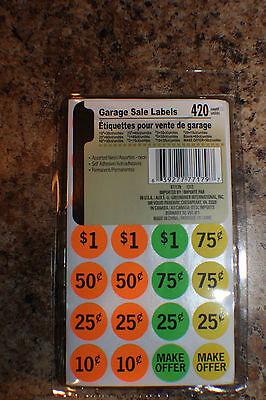 420 Neon Yard Garage Rummage Sale Price Tag Sticker Labels