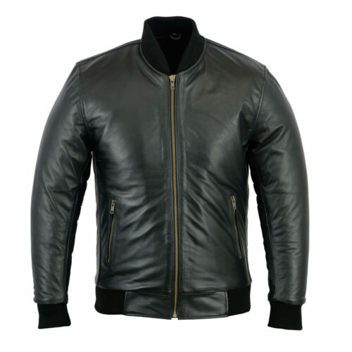 Details about  /New 70/'s Retro Bomber Jacket Mens Black Classic Soft Leather Jacket