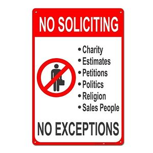 No-Soliciting-No-Exceptions-Tin-Sign-Metal-Sign-Metal-Decor-Wall-Sign-Wall-Poste
