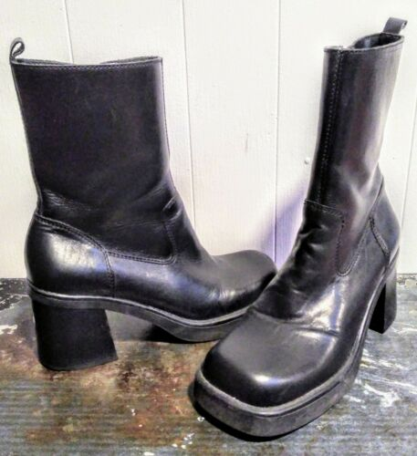 Vtg 90's MIA Black Leather PLATFORM BOOTS Chunky … - image 1