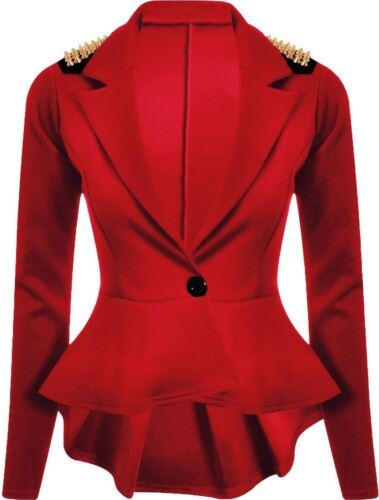 Crop Frill Shift Slim Blazer Veste pour femme Coupe Peplum Manteau Femme Taille 8-24