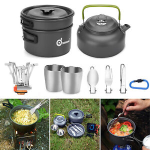 10/12pcs Camping Cookware Mess Kit Pot Pan Kettle Fork Spoon Cup Backpacking New