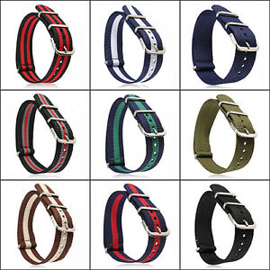 Smart-18mm-20mm-Military-Nylon-Wrist-Band-Strap-for-Watch-Stainless-Steel-Buckle