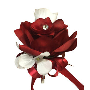 Wedding-Prom-Artificial-Pin-Corsage-Apple-Red-and-White-Roses-with-Hydrangea