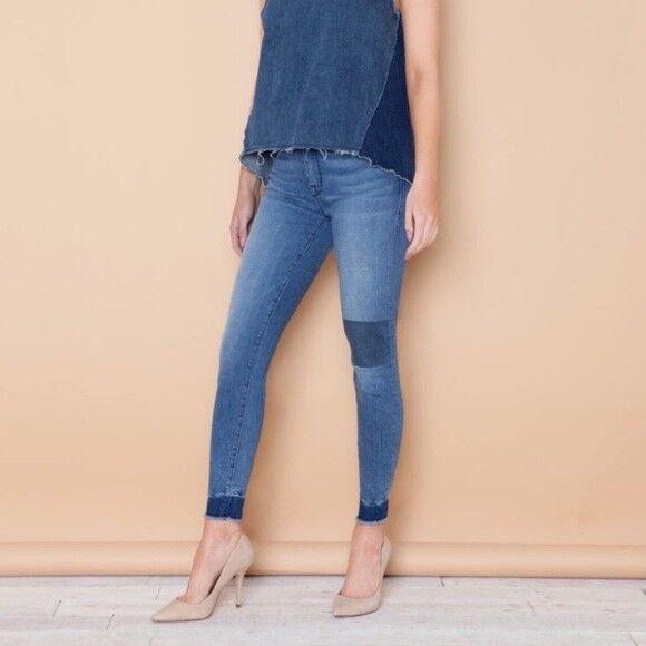 NEW Parker Smith Eva Crop Patched Jeans Women's SZ 8 29 bluee raw hem USA