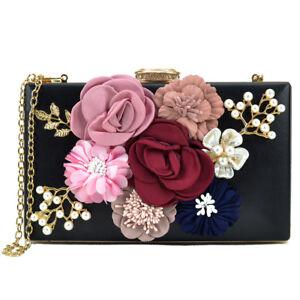 Image is loading Women-Handbags-Satin-Evening-Clutch-Bag-Flower-Shoulder-
