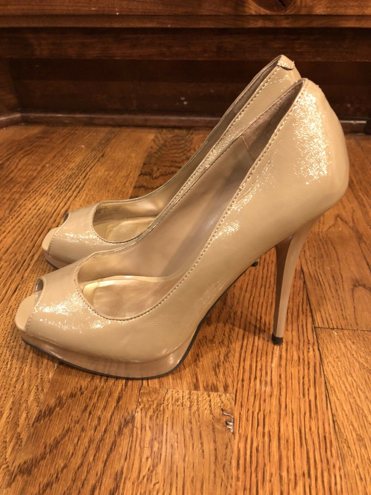 Steve Madden Nude Open Toe Heels, Size 6