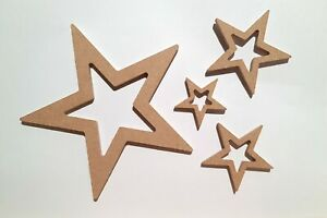 Christmas Star Set Craft Blank Decorations - Wooden MDF - 5 Thickness Options