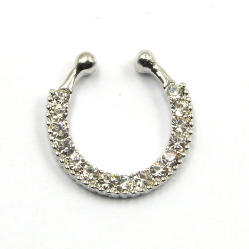 Non Piercing Clip On Fake Septum Ring Nose Ring Crystal Body Jewelry FashionCBB
