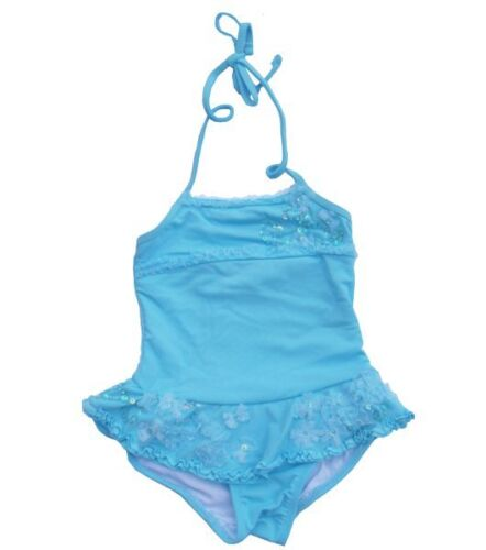 NWT 100/% Authentic Girls//Toddler Skirted One Piece Halter Swimsuits Blue 2T-6X