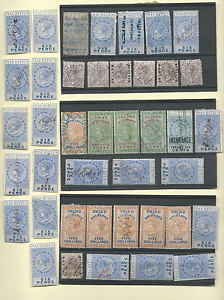 MAURITIUS-1869-78-41-REVENUES-INLAND-INSURANCE-INTERNAL-BILL-STAMP-DUPLICATES