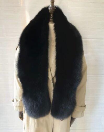 SCF5 vera pelliccia B Blue Fox Sciarpa Stola Collo Wrap scialle UK STOCK NERO VULPES