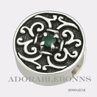 Authentic Lori Bonn Bonn Bons Silver May I? Emerald Slide Charm 29904EM